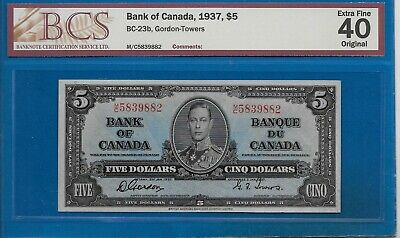 1937 - $5.00 The Bank Of Canada Graded Bcs Ef-40 ( Beauty)