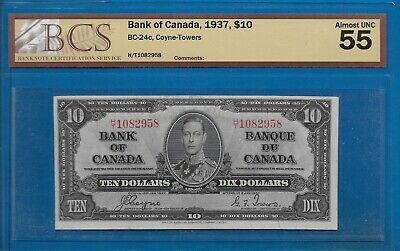1937 - $10.00 The Bank Of Canada Graded Bcs Au-55 Almost Unc