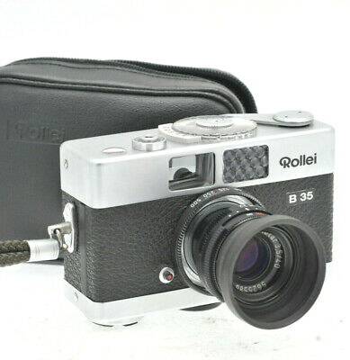 Rollei B 35 35mm Film Camera with Rollei 40/3.5 Lens Silver Wrist Case Strap B35