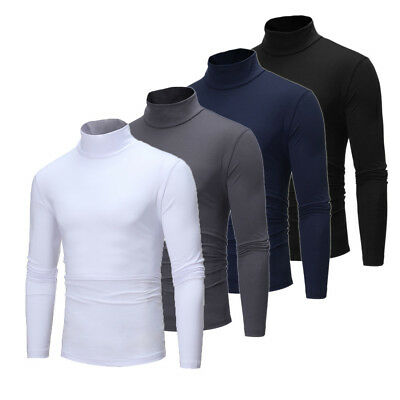 CA Men's Turtle High Neck Long Sleeve Sweater Tops Pullover T Shirts Winter Fall