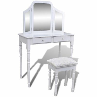 Dressing Table with 3 In 1 Mirror and Stool 2 Drawers White P1F4