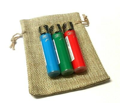 3 x CLIPPER WINDPROOF JET TURBO FLAME GAS CIGARETTE LIGHTERS and GIFT POUCH