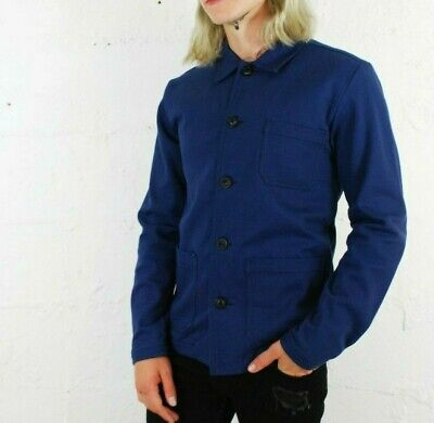 60s Style French Navy Blue Cotton Twill Canvas Chore Worker Jacket - All Sizes