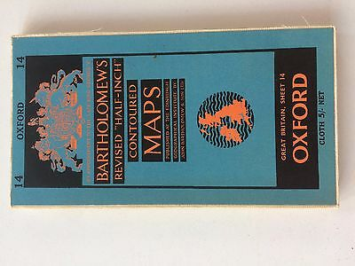 Original Vintage Old Bartholomews Contoured Fold Out Map Of Oxford Zk