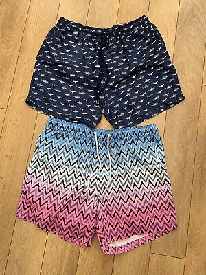Two Pairs Of Mens Next Swimming Shorts Size L Summer