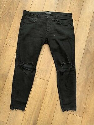 MENS ZARA SKINNY Ripped Black Jeans 36W regular