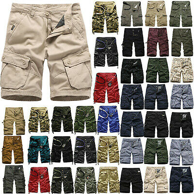 Mens Shorts Pants Cargo Combat Army Military Camo Bottom Hiking Camping Trousers