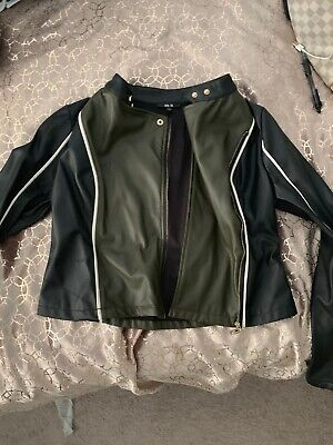 Women's Small Black Army Green Faux Leather Jacket Moto