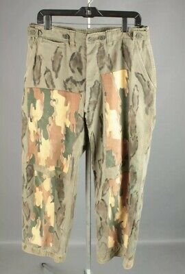 Vtg US Army 1940s WWII US Army Field Pants Trouser Modified w Camo 34w X 28.5L