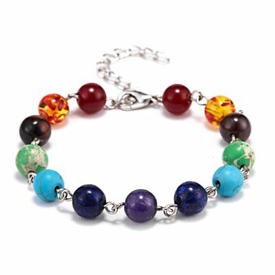 Fashion 7 Chakra Bead Handmade Men Women Bracelet Bangle Adjustable Yoga Gift