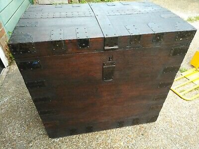 Large Brass Bound Silver Chest Robert Duncombe Silversmiths Cheapside London