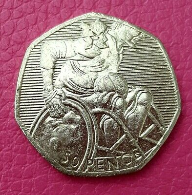 """2011 - LONDON 2012 OLYMPIC GAMES """"Wheelchair Rugby"""" 50p COIN"""