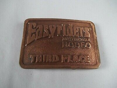 Vintage Pre Owned Easy Rider Motorcycle Rodeo Third Place Belt Buckle W/Wear