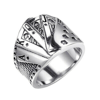 Men's Women Ancient silver Playing cards Rings Unique Design best gift Size 10