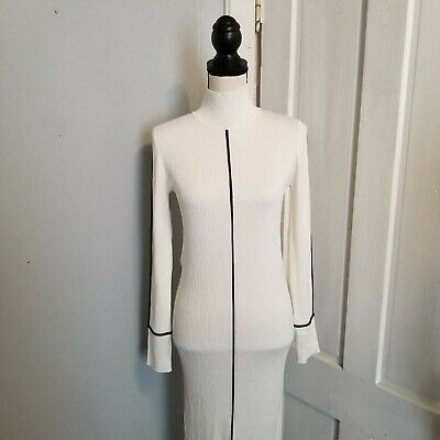 c45e1b1e Zara Womens White Ribbed Dress Size L Bodycon Long Sleeve Fitted Stretch  Casual