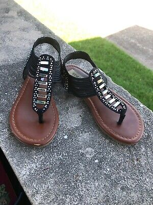 110578f3bd1 NEW STEVE MADDEN Girl's 3 Whisley Cognac Multicolor Woven Strappy ...