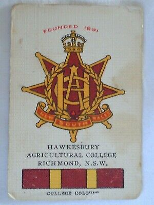 Vintage World Renowned Card School Crests Hawkesbury Agricultural College NSW