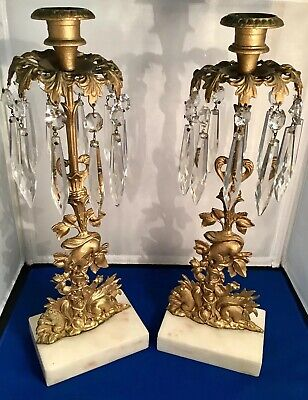 1800's Girandoles Gilt Brass Candelabra SQUIRRELS Candle Holders,Marble,Crystal