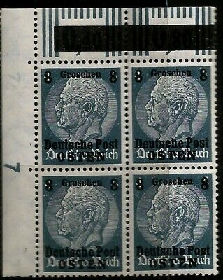German Occupation Of Poland Deutsche Post Osted Overprinted Block 4 Stamps Wwii