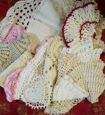 Lot Of Vintage Antique Crocheted Handmade Lace Doilies
