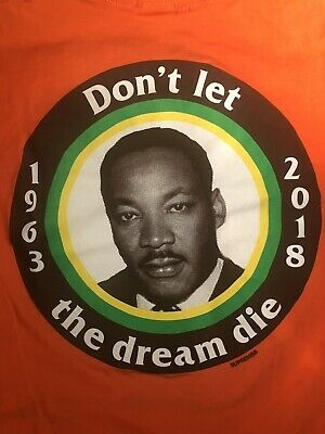 7da4c32199e5 2018 SS18 Supreme MLK Martin Luther King Jr. Orange T Shirt Size M Medium