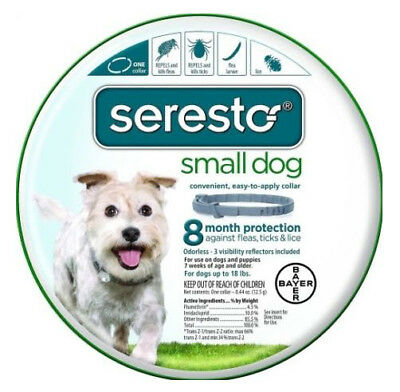 Bayer Seresto Flea and Tick Collar for Small Dog, 8 Month Protection New!