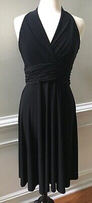 cebbe2d055 Chaps Ralph Lauren Retro Black Stretch Halter Midi Dress Size L Large EUC