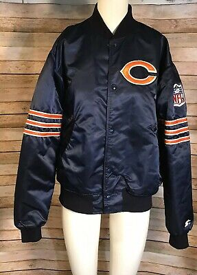 VTG 80s NFL Chicago Bears Starter Jacket Snap Quilted Satin Pro Line Navy Sz M