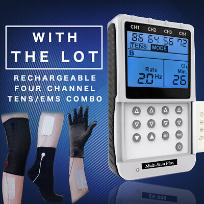 4-Channel TENS EMS Machine For Pain Relief+ All Arthritis Electrodes & TENS Pads