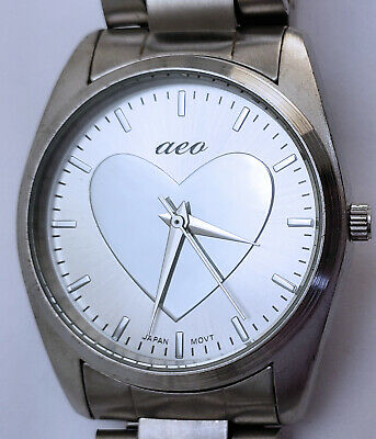 "Women's American Eagle Outfitter Quartz Analog Watch 34mm Silver Heart 7"" Band"