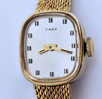"""Women's Vintage Gold Mesh Wind Up Watch 17mm By 19mm Rect Great Britain 7"""" Band"""