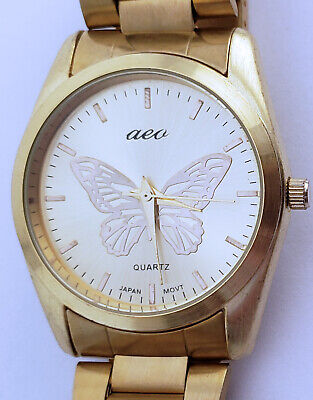 "Women's American Eagle Outfitter Quartz Analog Watch 35mm Gold Butterfly 7"" Band"