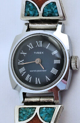 Women's Vintage Timex Watch 21mm Cushion Case Silver Native American Lug Jewelry
