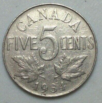 1934 CANADA  5 Cent Nickel Coin KING GEORGE V PN#11