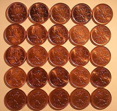 1997-2012 Canada Penny Lot of 25 (multiple varieties KEY DATES see description)