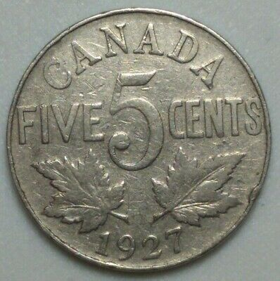 1927 CANADA  5 Cent Nickel Coin KING GEORGE V PN#4