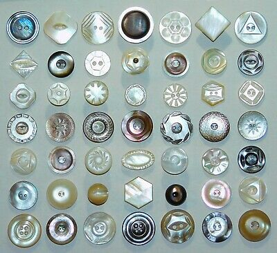 Small Antique Vintage ORNATE Carved Mother of Pearl Flower Star SHELL Buttons