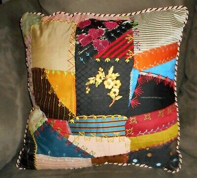 Antique Victorian Crazy Quilt Square - Decorative Pillow - New Insert Included
