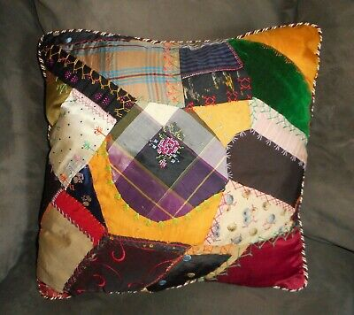 Antique Victorian Crazy Quilt Pillow - Decorative - New Insert Included