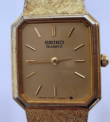 "Women's Vintage Seiko Square Quartz Watch 5 Jewels 6½"" Bracelet Gold Japan 7320"
