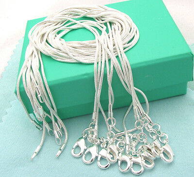 Lots 10PCS 1MM 925Sterling Solid Silver Snake Chain Necklace 16-30inch Wholesale