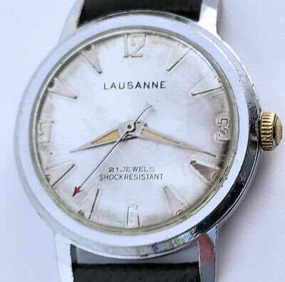 Men's Vintage Lausanne 21 Jewel Watch 32mm Case Silver Dial Original Hands Wind