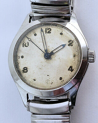 Vintage Auguste Reymond 31mm Stainless Steel Swiss Watch Blued Hands Aged Patina
