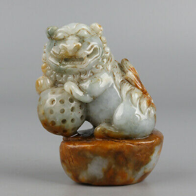 Chinese Exquisite Hand-carved lion Carving jadeite jade statue