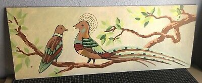 """Vintage Bird Painting Sitting On Braches - On Wooden Board 36"""" X 14"""" Pigeon Dove"""