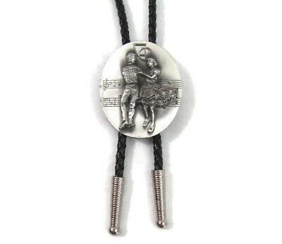Vintage Bolo Tie Pewter Dancing Couple Siskiyou Buckle Co Oval Marked 1987