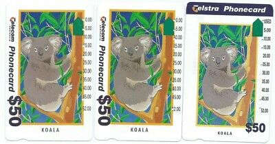 3 Different $50 Koala Telstra Phonecards. Top Condition