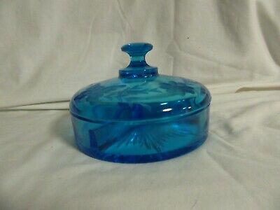 Antique Blue 3 Part Divided Round Glass Candy/Relish Dish Etched Glass On Lid
