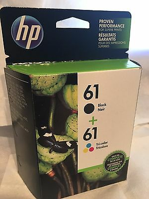 HP 61 Black and Tricolor Ink Cartridges (CR259FN), Combo 2/Pack - NIB