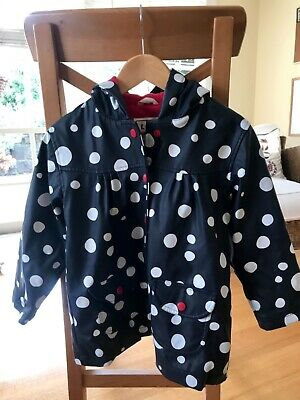 Hatley navy with white spots, red lining,  unisex raincoat size 4